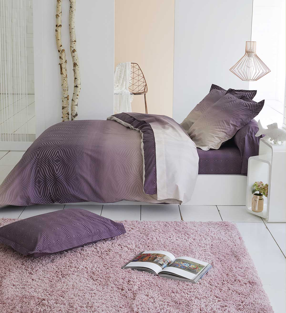 housse de couette en percale prune prune homemaison vente en ligne housses de couettes. Black Bedroom Furniture Sets. Home Design Ideas