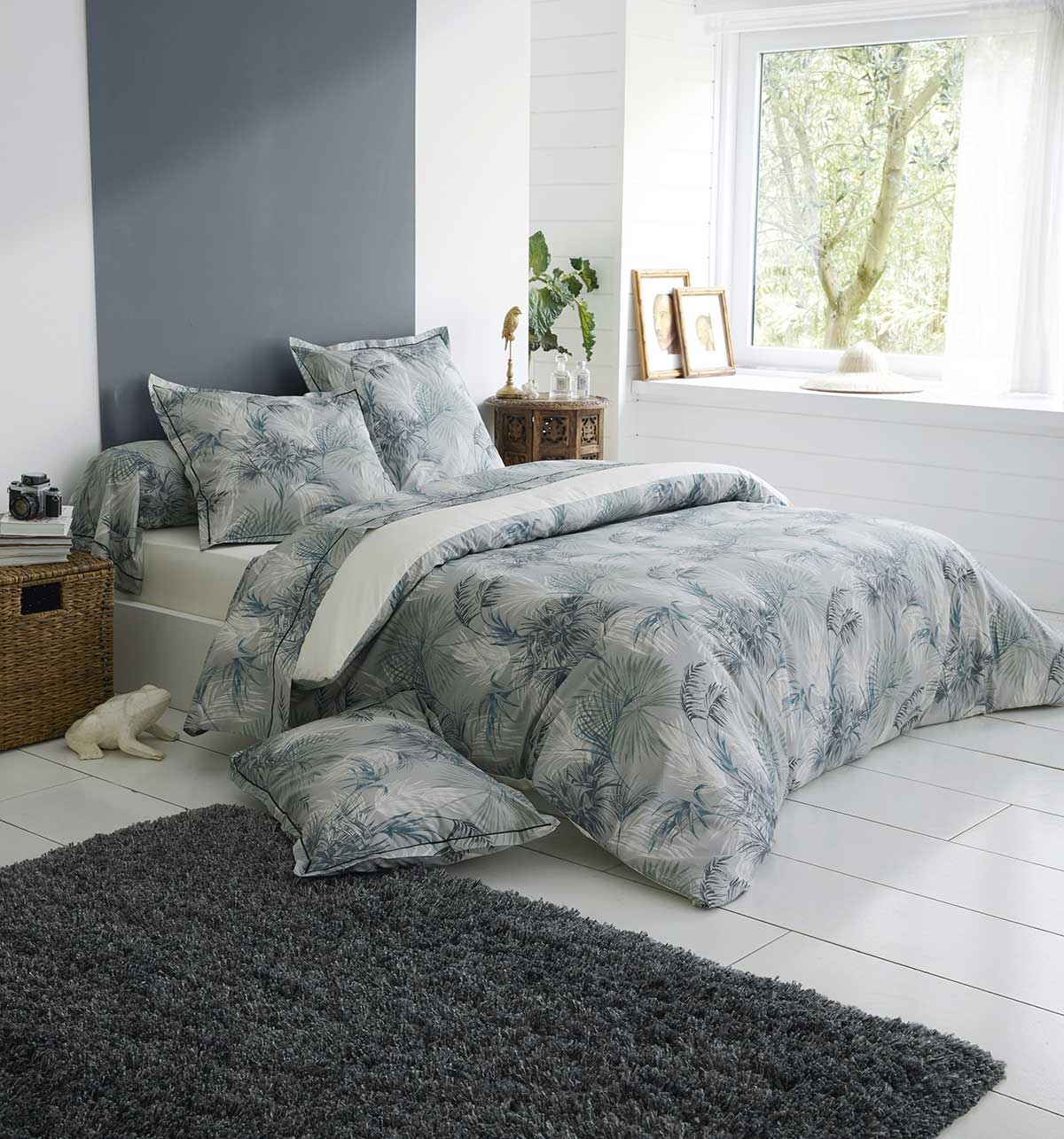 housse de couette feuillage tropical bleu vert homemaison vente en ligne housses de couettes. Black Bedroom Furniture Sets. Home Design Ideas