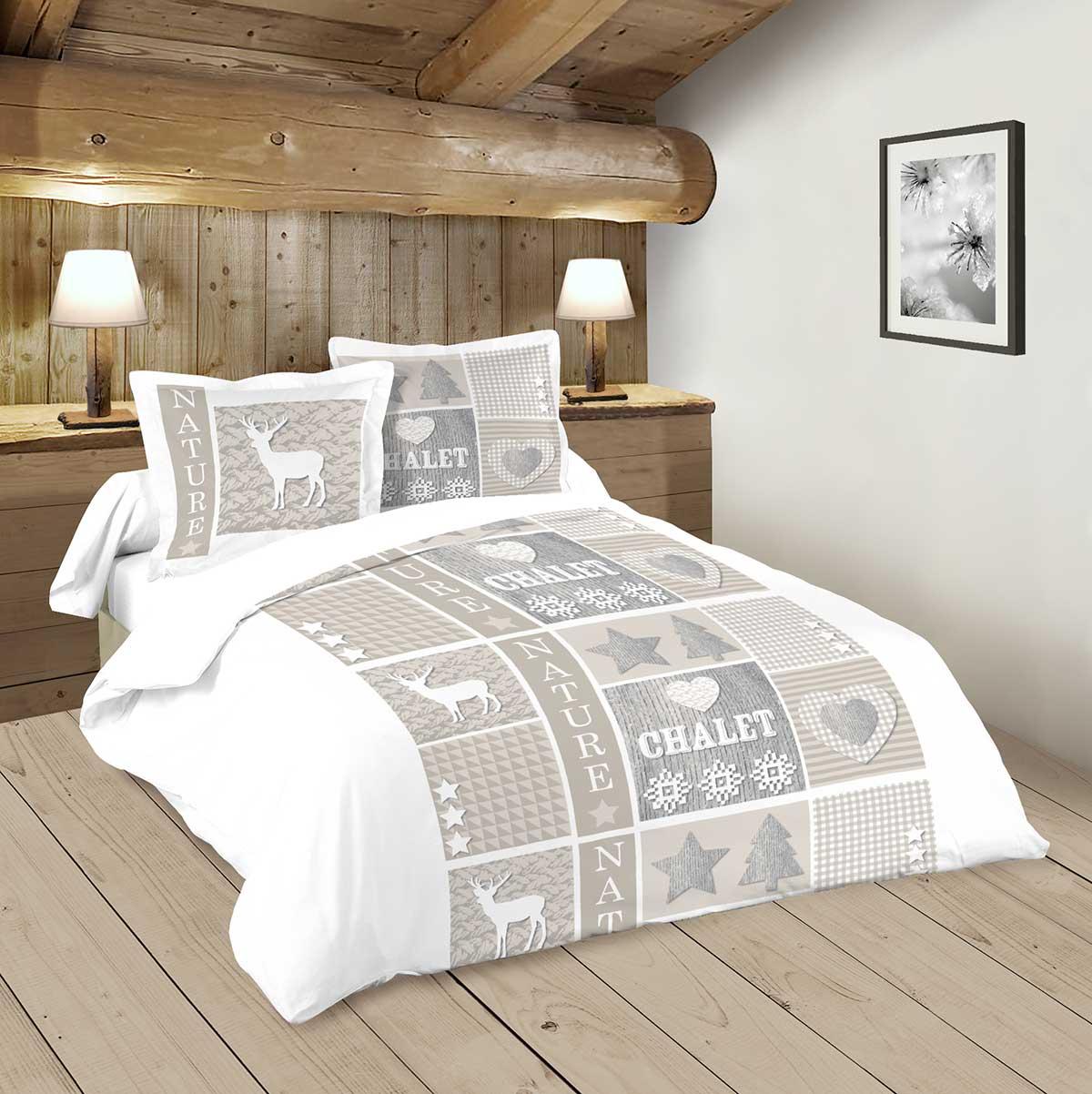 Parure de lit rennes et montagne naturel homemaison - Parure de lit om 2 personnes ...