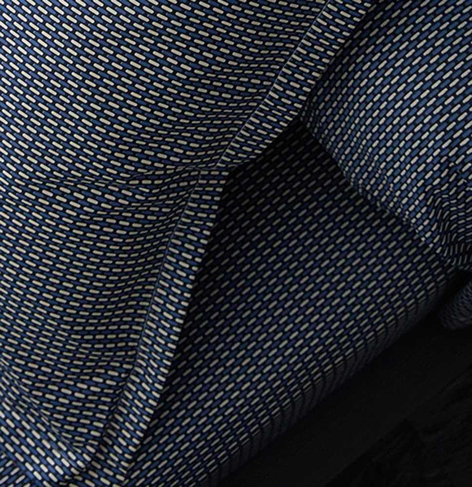 Drap Housse Imprimé en Satin de Coton - Bleu Gris - 140 x 190 bt 30 cm