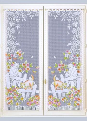 Paire de Vitrages à Franges Chats et Envolée de Fleurs - Blanc - 60 x 120 cm