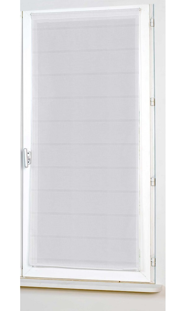 Vitrage Uni Droit à Rayures Ajourées - Blanc - 80 x 200 cm