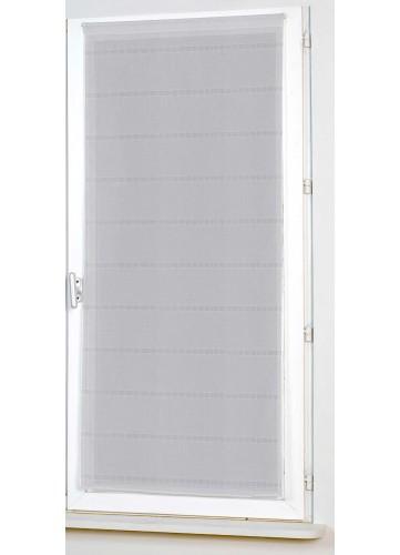 Vitrage Uni Droit à Rayures Ajourées - Gris - 80 x 200 cm