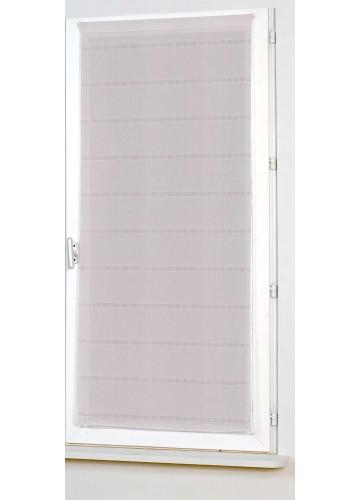 Vitrage Uni Droit à Rayures Ajourées - Rose - 80 x 200 cm