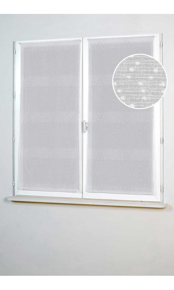 Paire de Petits Vitrages Droits à Rayures Plumetis - Blanc - 45 x 130 cm