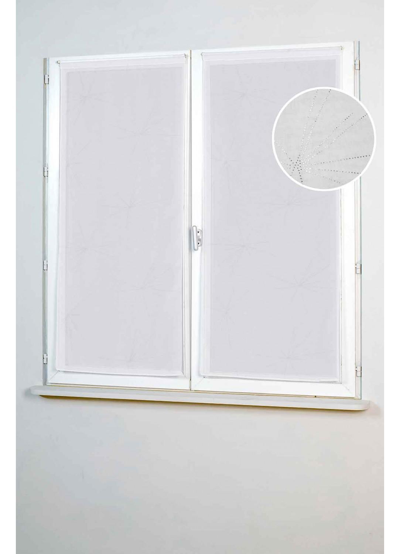 Vitrages Droits à Etoiles Stylisées (Blanc)