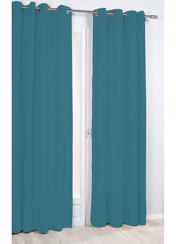 rideau uni et tamisant bleu jaune homemaison vente en ligne tous les rideaux. Black Bedroom Furniture Sets. Home Design Ideas