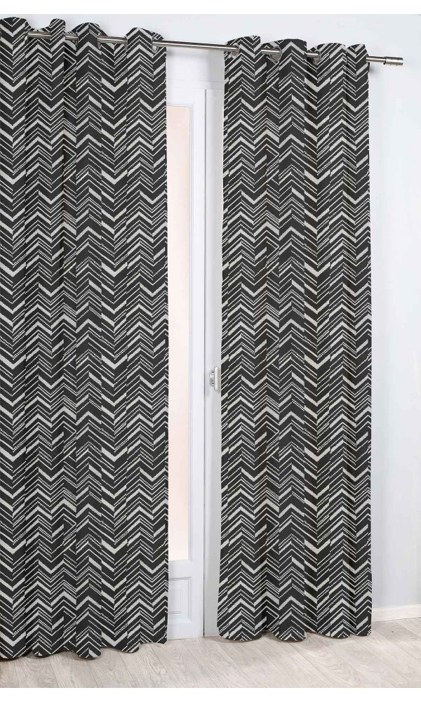 Rideau Imprimé à Chevrons - Noir - 140 x 260 cm