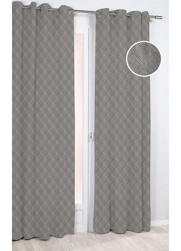 Rideau à Motif Géométrique Feuille Stylisée - Taupe - 140 x 260 cm