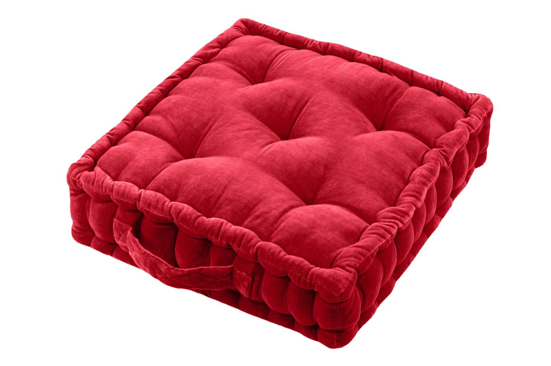 Coussin de Sol en 100% Coton Uni (Rouge)