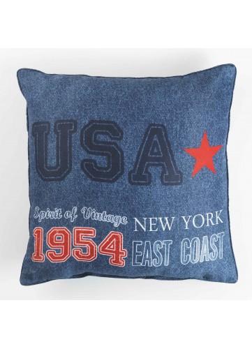 Coussin Imprimé USA - Bleu - 40 x 40 cm