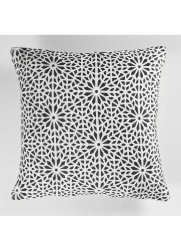 Housse de Coussin avec Motif Géométrique Fleurs - Anthracite - 40 x 40 cm