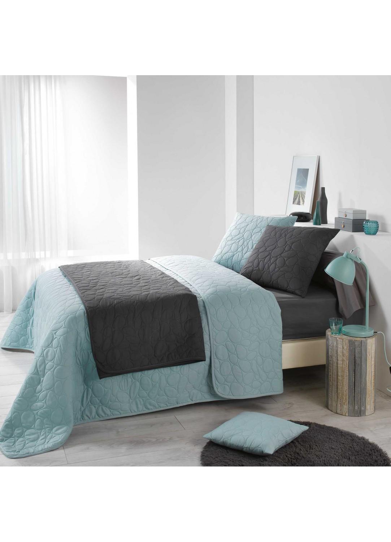 couvre lit matelass galets anthracite taupe naturel homemaison vente en ligne. Black Bedroom Furniture Sets. Home Design Ideas
