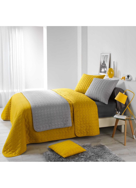 Couvre lit matelass motif chevron miel blanc homemaison vente en ligne couverture boutis - Couvre lit matelasse blanc ...