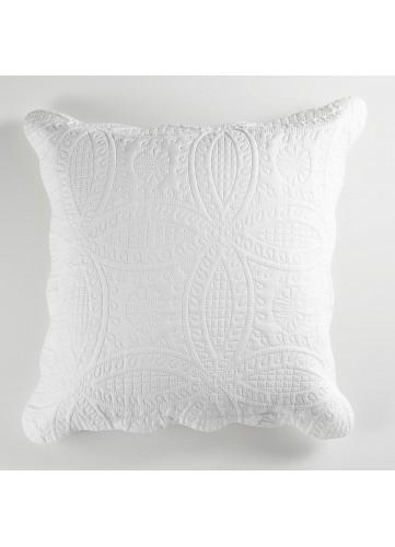 Housse de Coussin Matelassée Motif Géométrique - Blanc - 45 x 45 cm