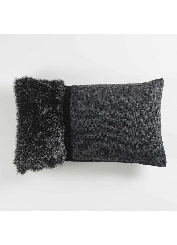 coussin en tissu et fausse fourrure anthracite gris naturel homemaison vente en. Black Bedroom Furniture Sets. Home Design Ideas