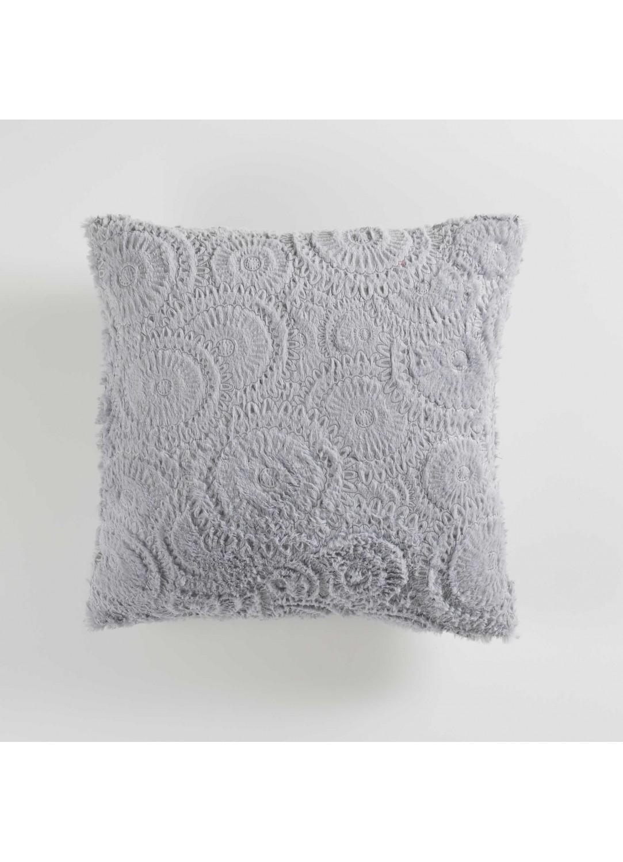 coussin avec effet fourrure relief gris lin naturel rose homemaison vente en. Black Bedroom Furniture Sets. Home Design Ideas