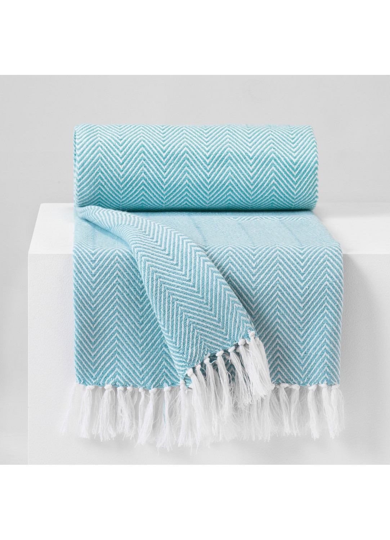 jet de fauteuil franges avec motif chevron bleu. Black Bedroom Furniture Sets. Home Design Ideas
