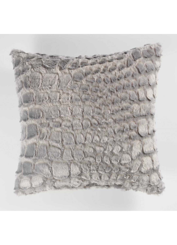 coussin imitation fourrure avec effet peau de serpent gris navy naturel homemaison. Black Bedroom Furniture Sets. Home Design Ideas