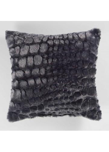 Coussin Imitation Fourrure avec Effet Peau de Serpent - Navy - 40 x 40 cm