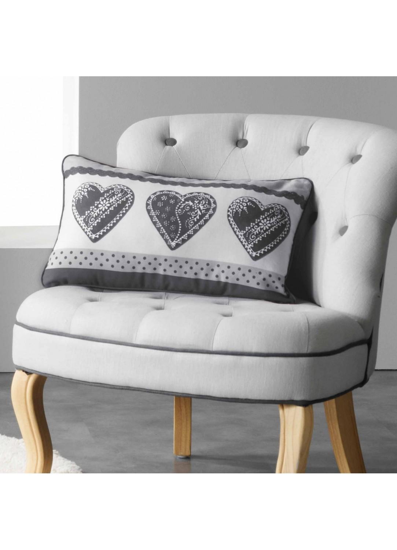 coussin rectangulaire imprim c urs dentelle et pois gris rouge homemaison vente en. Black Bedroom Furniture Sets. Home Design Ideas