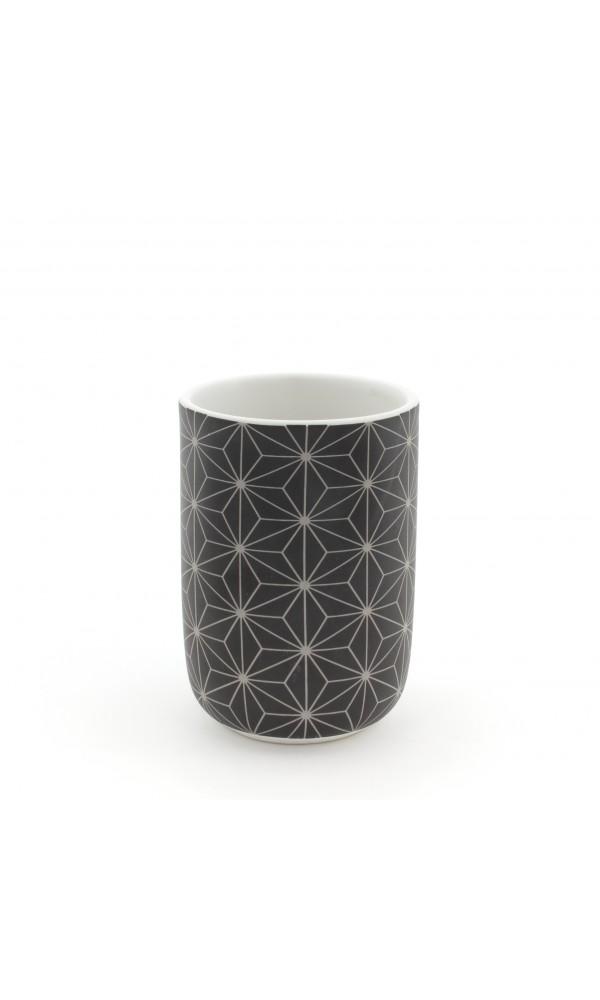 Gobelet en Céramique à Motifs Graphiques - Noir