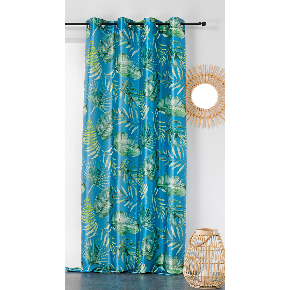 Cortina con impresiones vegetales (Azul)
