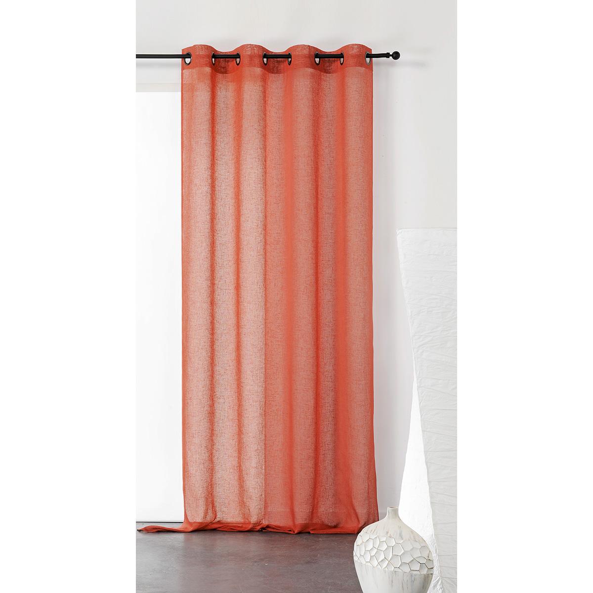 Visillo unido y tamizante de poliéster/lino (Naranja)