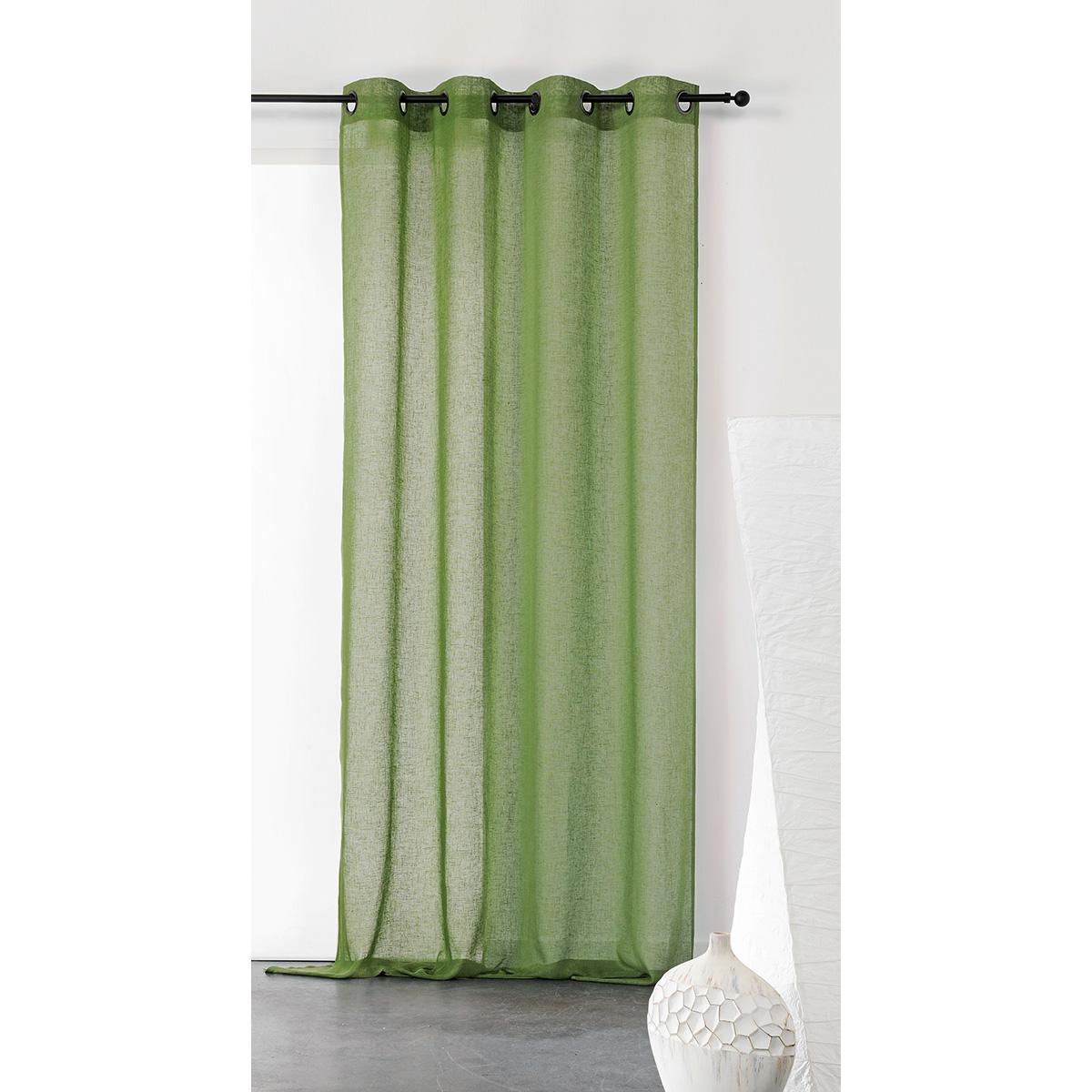 Visillo unido y tamizante de poliéster/lino (Verde)