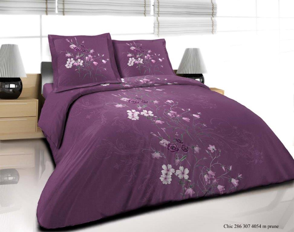 parure de couette 3 pi ces 100 coton chic prune. Black Bedroom Furniture Sets. Home Design Ideas