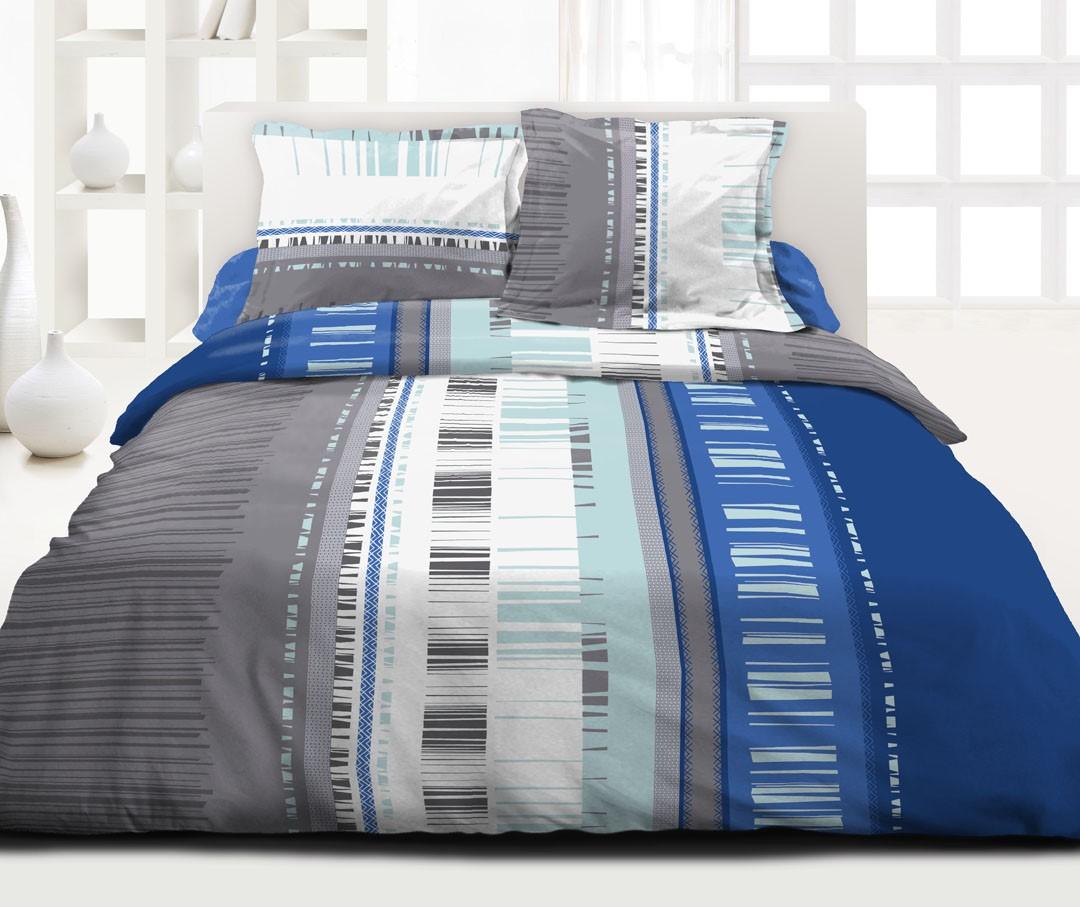 parure de couette graphique et moderne azur. Black Bedroom Furniture Sets. Home Design Ideas