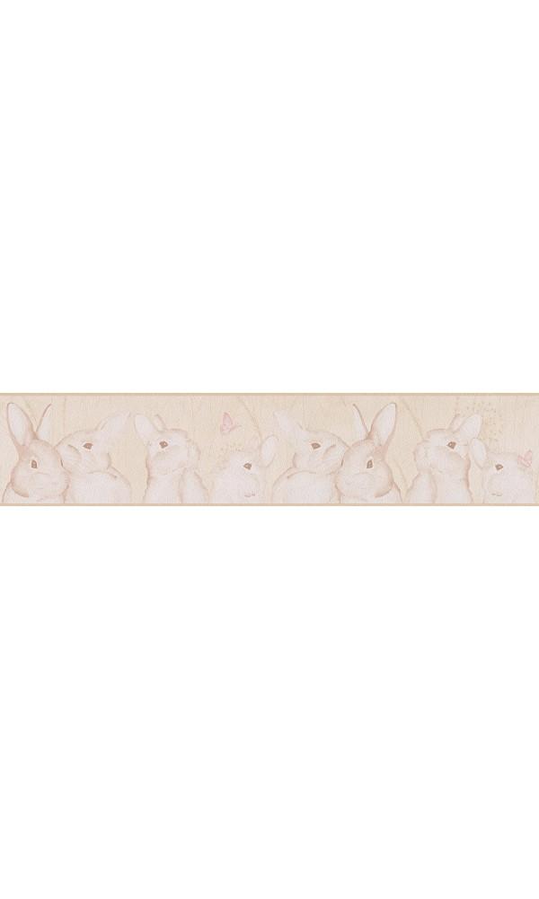 Frise Petits Lapins - MARRON SABLE - 5 m x 0,13 m