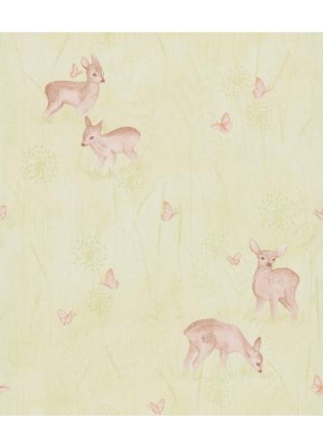 Papier Peint Petits Faons dans la Forêt - vert tilleul - 10 m x 0,53 m