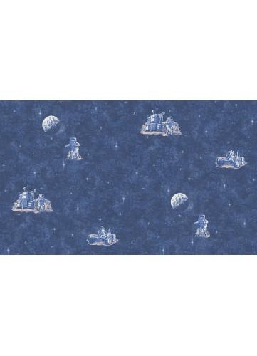 Papier Peint Astronaute bleu - Bleu - 10 m x 0,53 m