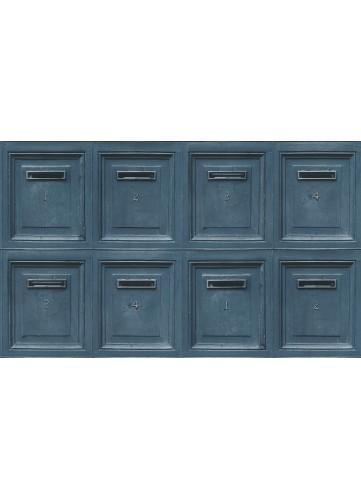 Papier Peint Boîtes aux lettres - Bleu - 10 m x 0,53 m
