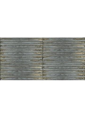 Papier Peint Tôle Ondulée - Bleu - 10 m x 0,53 m