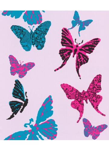 Papier Peint Papillons très Girly - Rose - 10 m x 0,53 m