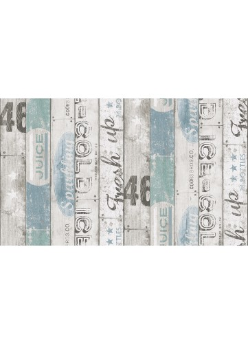 Papier peint imitation Planches imprimées - Bleu - 10 m x 0,53 m