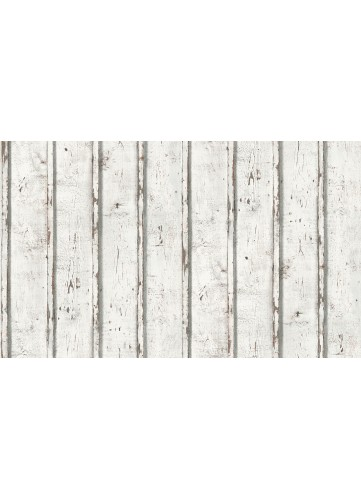 Papier peint Planches de bois à effet Used - Blanc - 10 m x 0,53 m