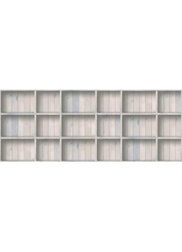 Papier Peint effet trompe l'oeil Caisson en bois - Bleu - 10 m x 0,53 m