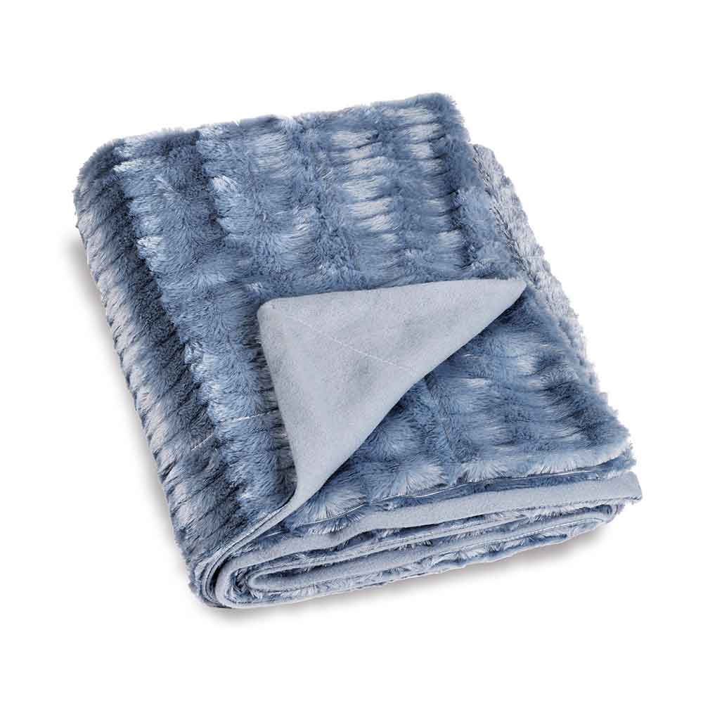 Plaid avec Imitation Fourrure (Bleu)