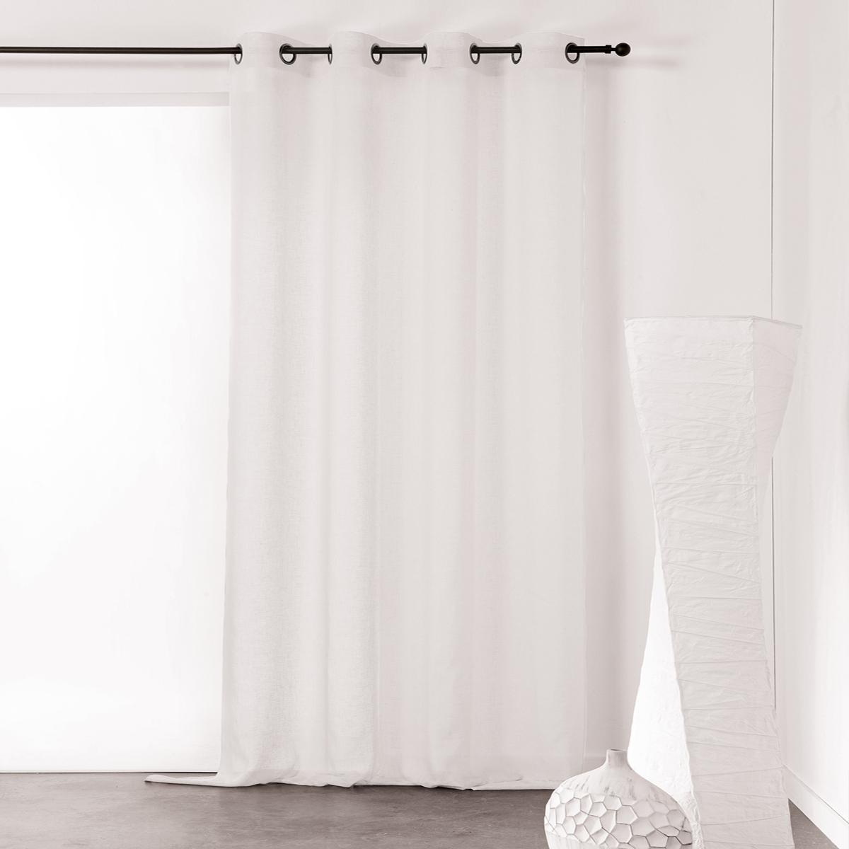 Visillo unido y tamizante de poliéster/lino (Blanco)