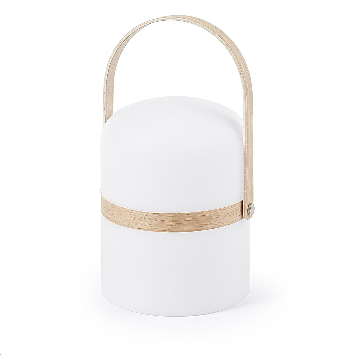 Lampe led avec anse en bois - Blanc - 26.5 x Ø 14.5 cm