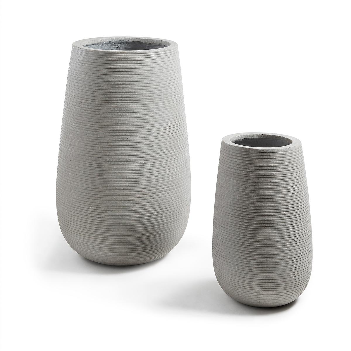 Set de 2 cache-pots en ciment - Gris