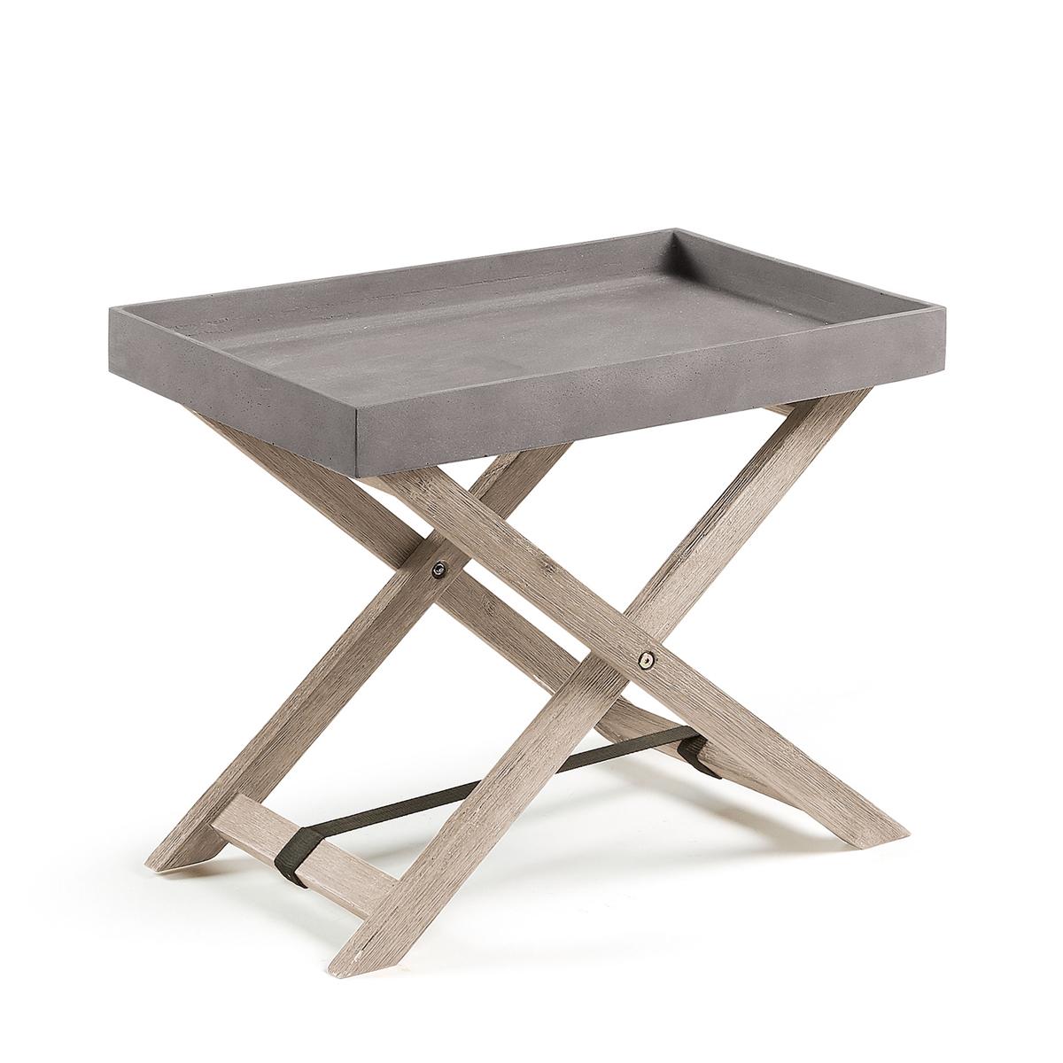 Table d'appoint en acacia et plateau amovible en ciment - Naturel - H 55 x 45.5 cm