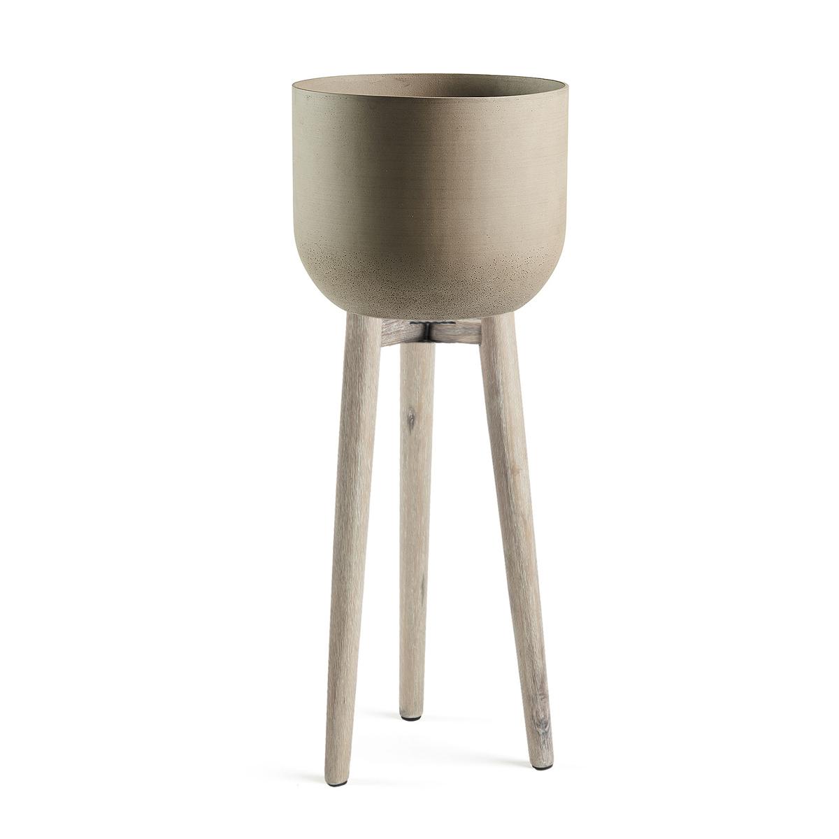 Cachepot en ciment avec pieds en bois - Taupe - Ø 40 cm x H 97 cm