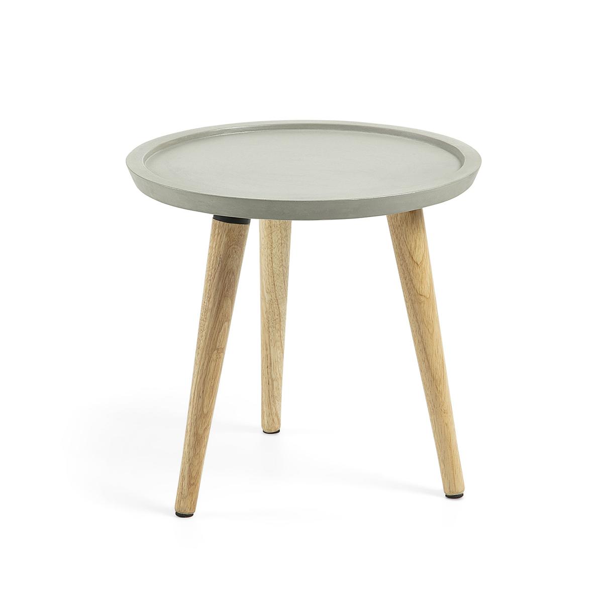 Table d'appoint en ciment et bois de caoutchouc - Ciment - H 38 x 40 x 40 cm