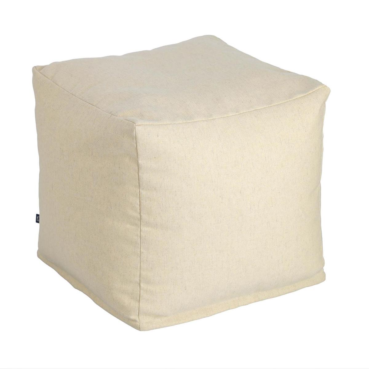 Pouf carré et uni - Beige - 50 x 50 x 40 cm