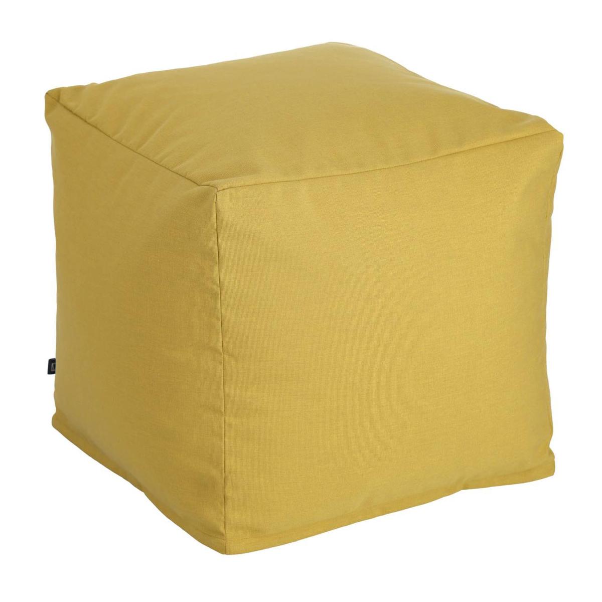 Pouf carré et uni - Moutarde - 50 x 50 x 40 cm