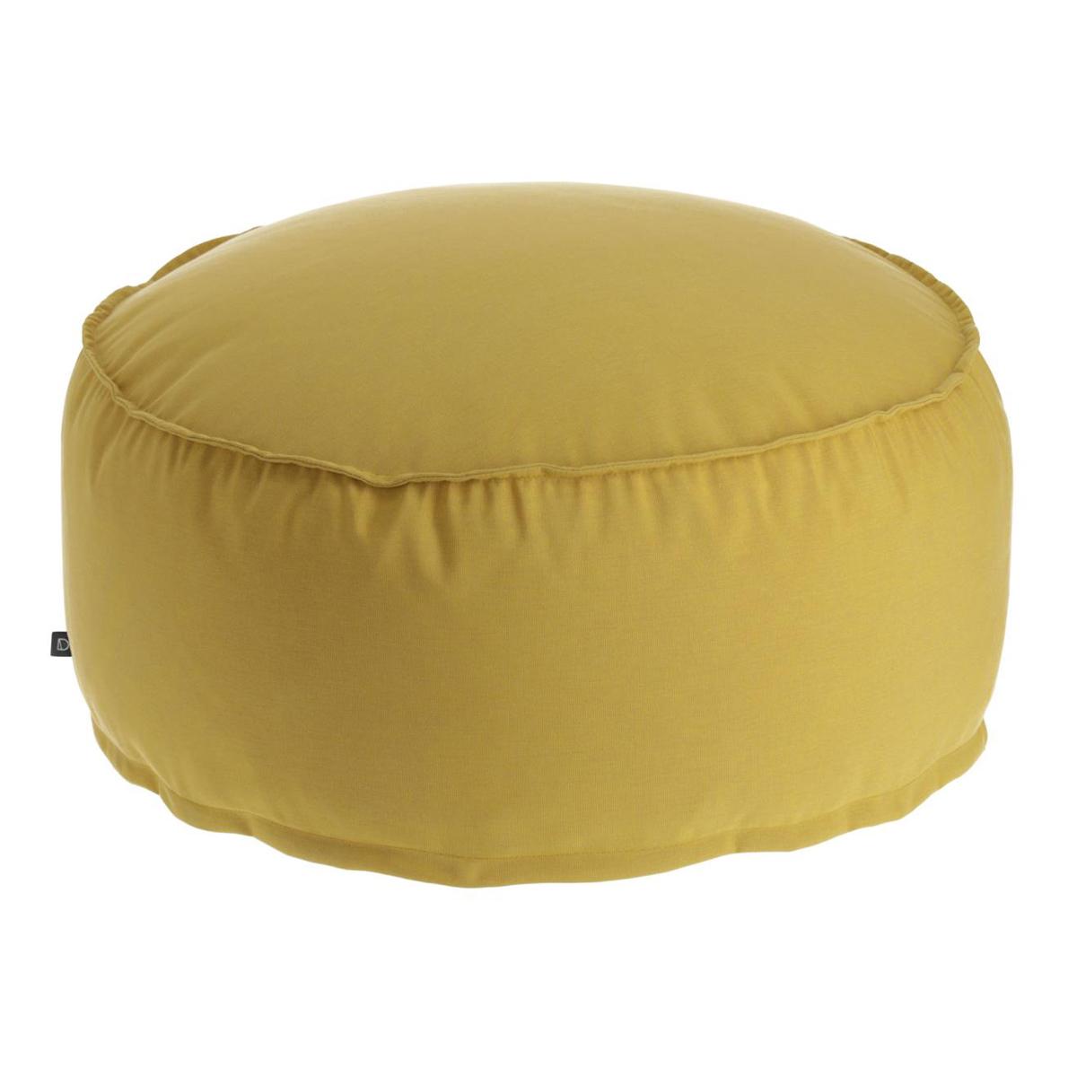 Pouf rond et uni - Moutarde - Ø 70 cm x H 40 cm